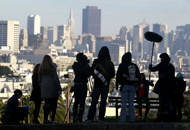 "A production crew films a scene for ""San Fran Land"" at Dolores Park in San Francisco, Calif. on Saturday, Dec. 8, 2012. Photo: Paul Chinn, The Chronicle"